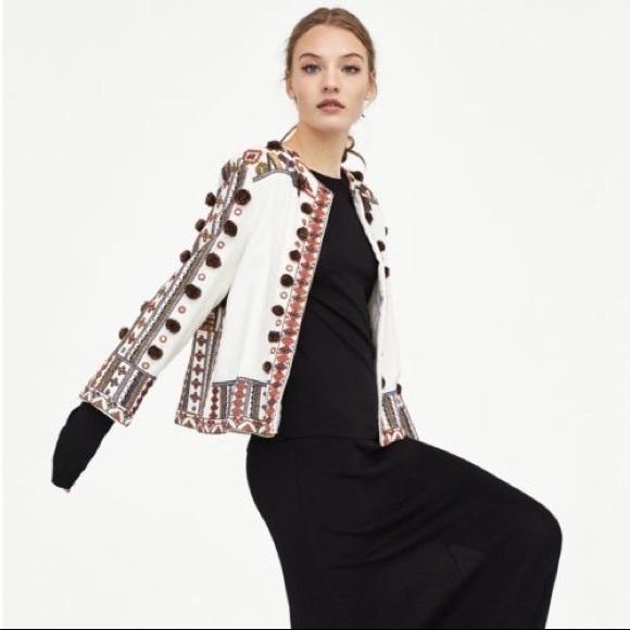 Zara Jackets Coats Embroidered Pom Pom Jacket Xs Poshmark